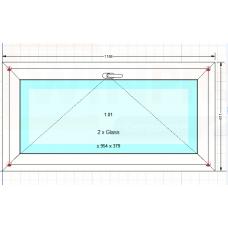 Okno PCV Gealan S8000, białe, uchylne, Nowe, 3 szyby z VSG! (1186x611)