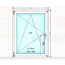 Okno PCV Gealan S8000, białe, lewe, NOWE, 3 Szyby! (939x1239)